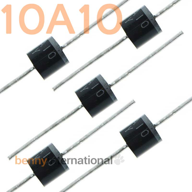 50pcs Diodes 10A10 1000V 10A High Voltage Rectifier Diode Rectifying Diodes